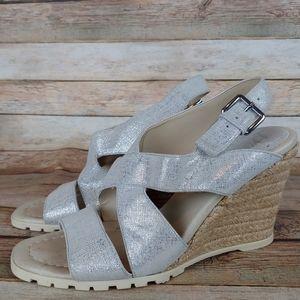 Donald J Pliner Brevos silver wedge sandals 7.5